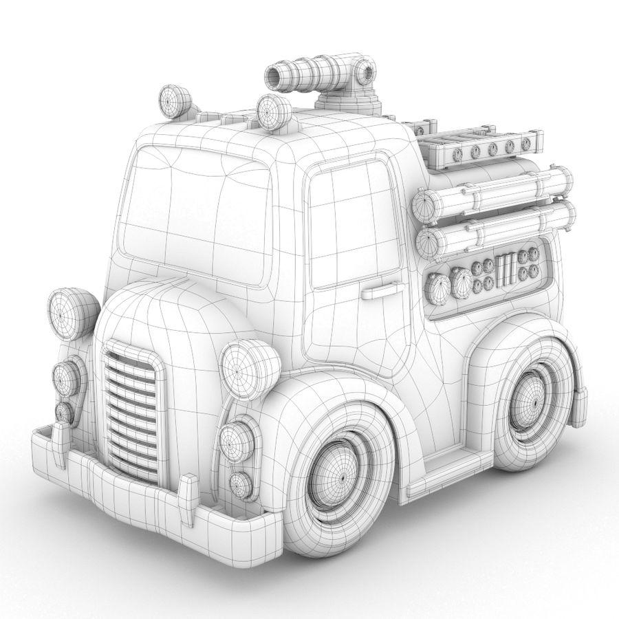 Cartoon Fire Truck royalty-free 3d model - Preview no. 2