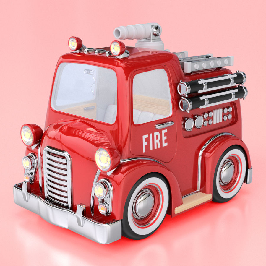 Cartoon Fire Truck royalty-free 3d model - Preview no. 1