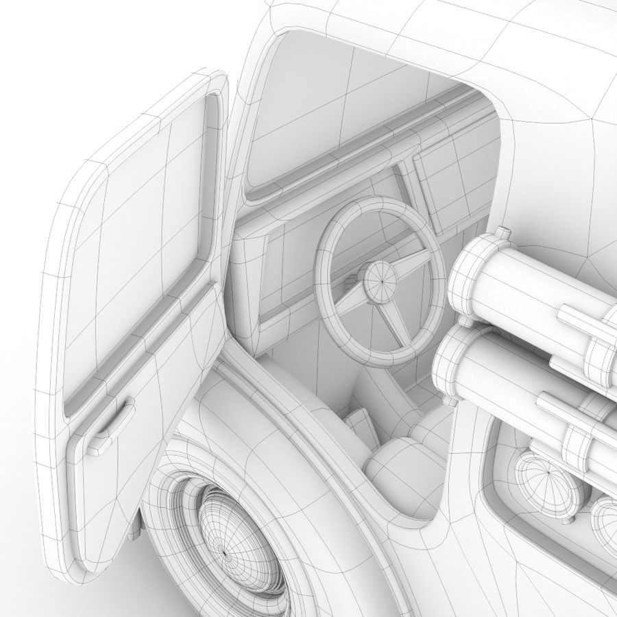 Cartoon Fire Truck royalty-free 3d model - Preview no. 6