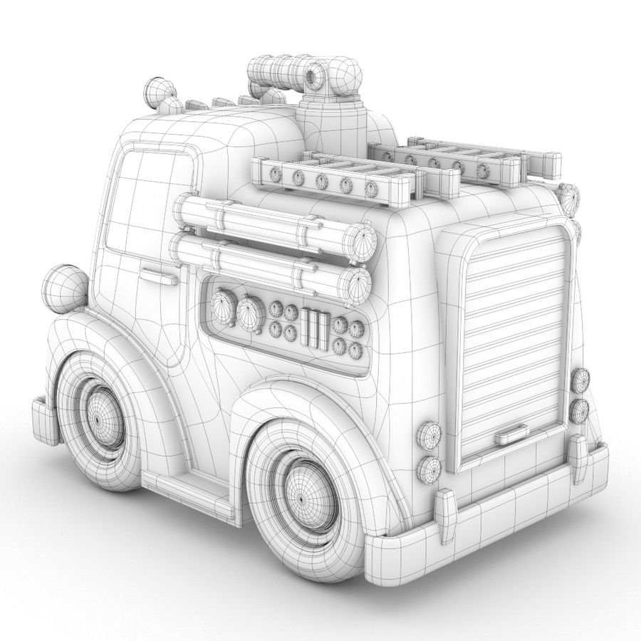 Cartoon Fire Truck royalty-free 3d model - Preview no. 4