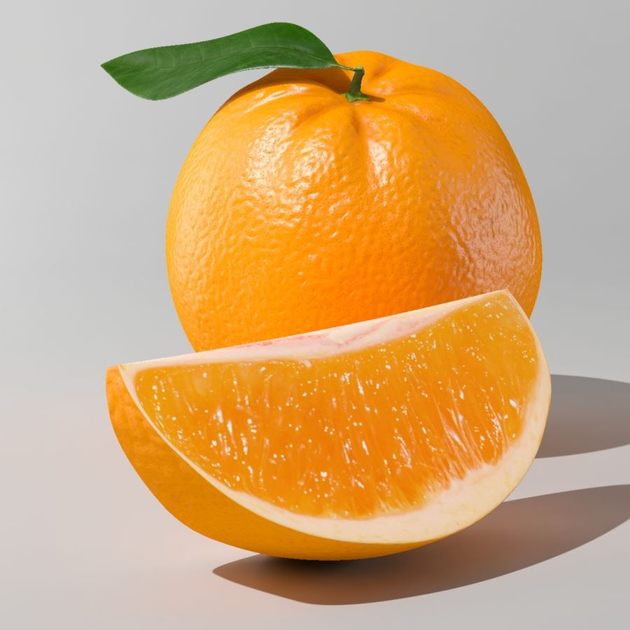 Fruta laranja royalty-free 3d model - Preview no. 4