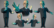 Business man toon character 3d model