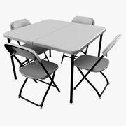 Карточный стол со стульями 3d model