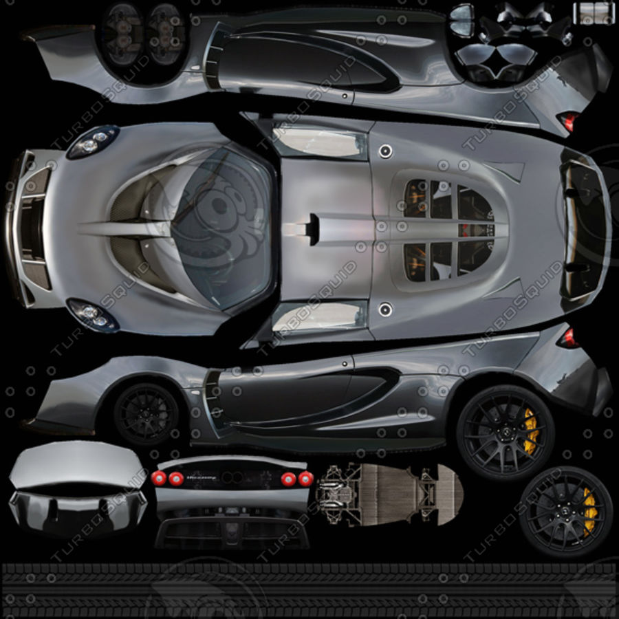 Hennessey Venom GT 2013 royalty-free 3d model - Preview no. 9