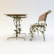 Smeedijzeren bank en tafel 3d model
