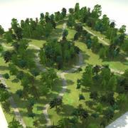 Drzewa blokowe parku leśnego 2 3d model