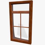 Office Interior Wood Window Frame 3d model