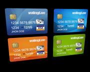 4 edytowalne karty kredytowe 3d model