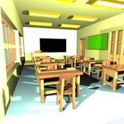 Cartoon Classroom Interior 1 3d model