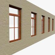 Ahşap Cam Pencere ile Geçiş Duvar 3d model