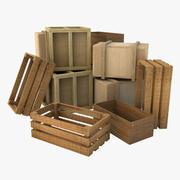 나무 상자들 3d model