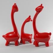 Sculpture abstraite en porcelaine famille de girafe - décoration de la maison 3d model
