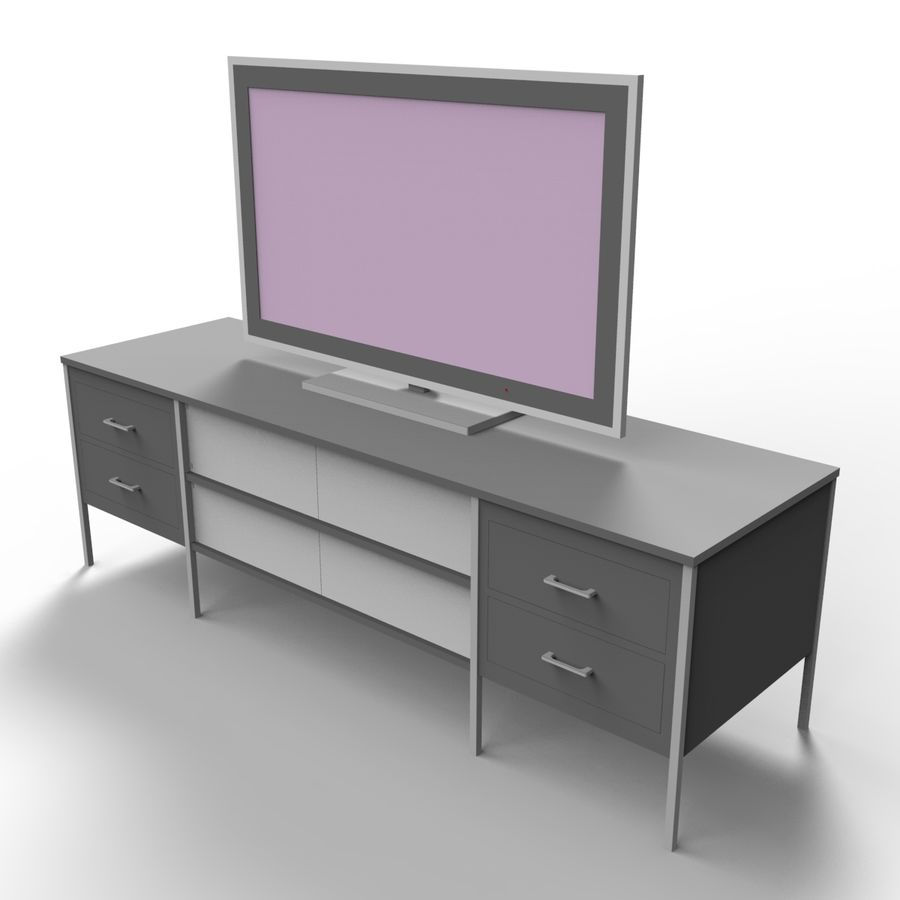 Entertainment Unit and TV royalty-free 3d model - Preview no. 4