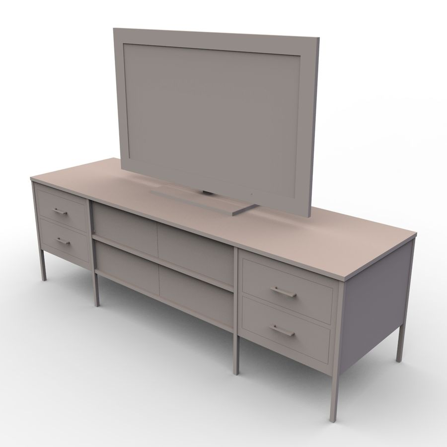 Entertainment Unit and TV royalty-free 3d model - Preview no. 6