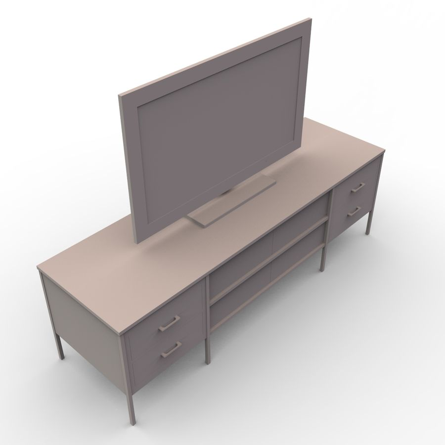 Entertainment Unit and TV royalty-free 3d model - Preview no. 7