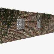 Rovina rossa della parete della casa della roccia di pietra del mattone abbandonata abbandonata abbandonata abbandonata desolato elemento di sfondo dettaglio puntello 3d model