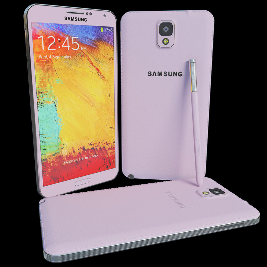 Samsung Galaxy Note 3 Pink royalty-free 3d model - Preview no. 2