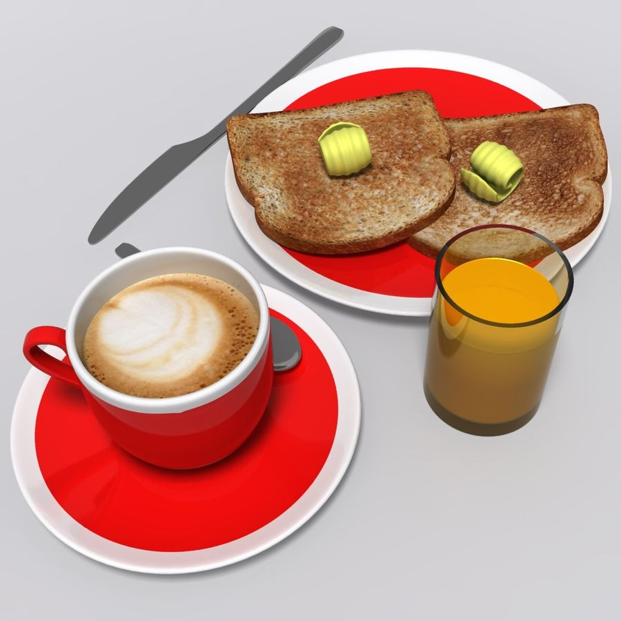 Breakfast royalty-free 3d model - Preview no. 4
