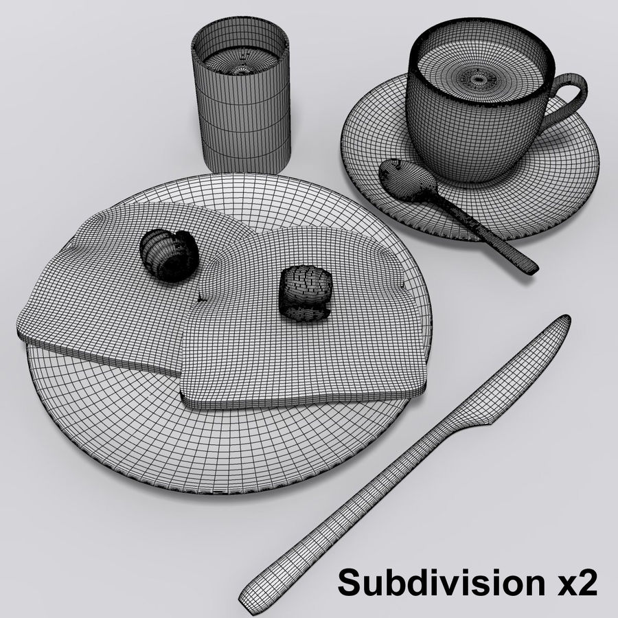 Breakfast royalty-free 3d model - Preview no. 8