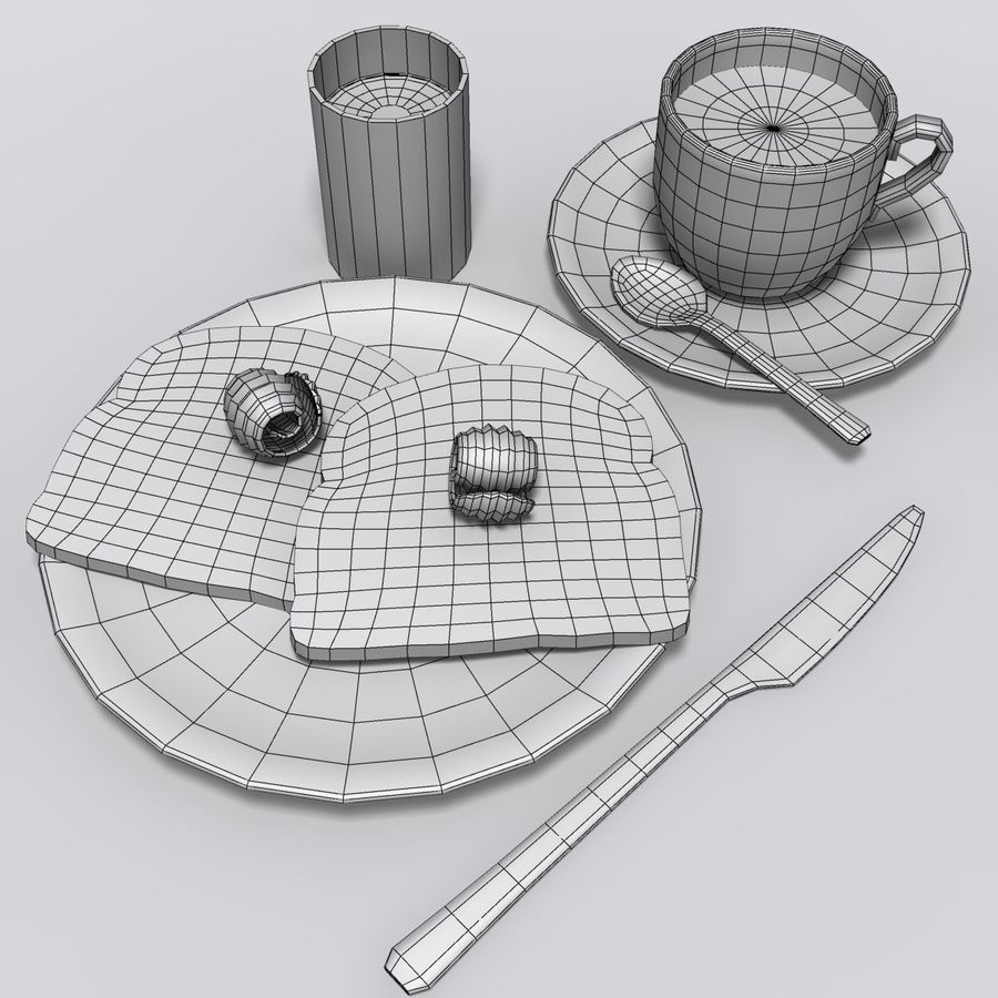 Breakfast royalty-free 3d model - Preview no. 7