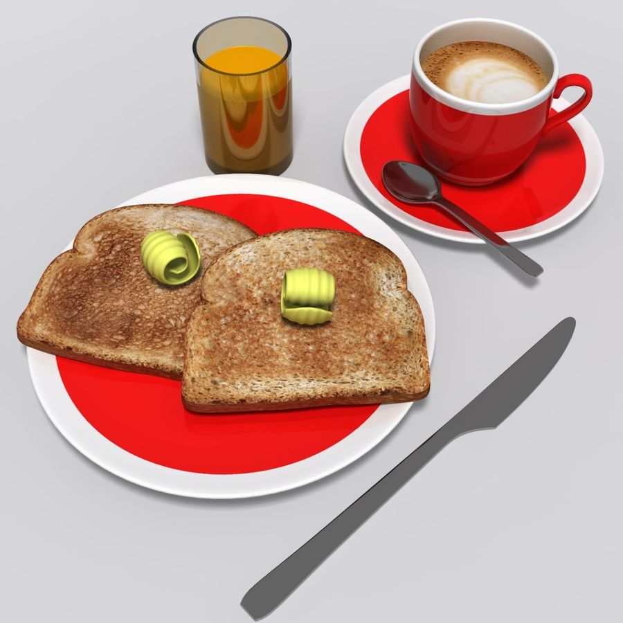 Breakfast royalty-free 3d model - Preview no. 2