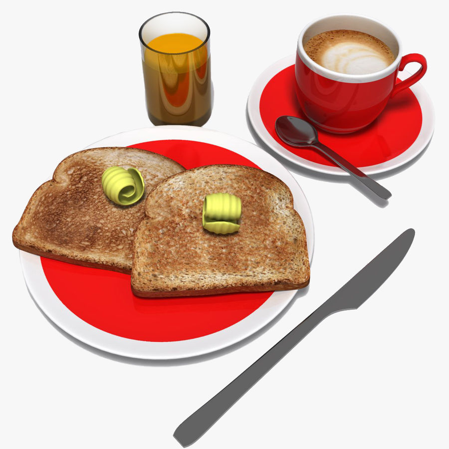 Breakfast royalty-free 3d model - Preview no. 1