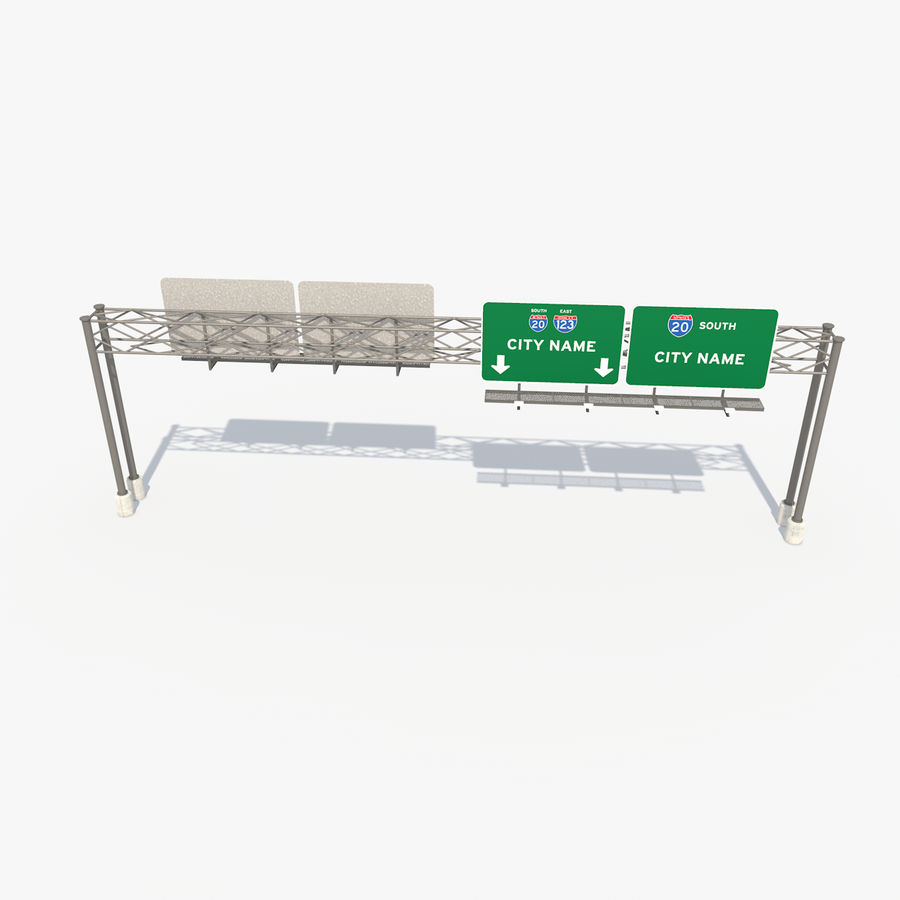 Freeway Sign royalty-free 3d model - Preview no. 9