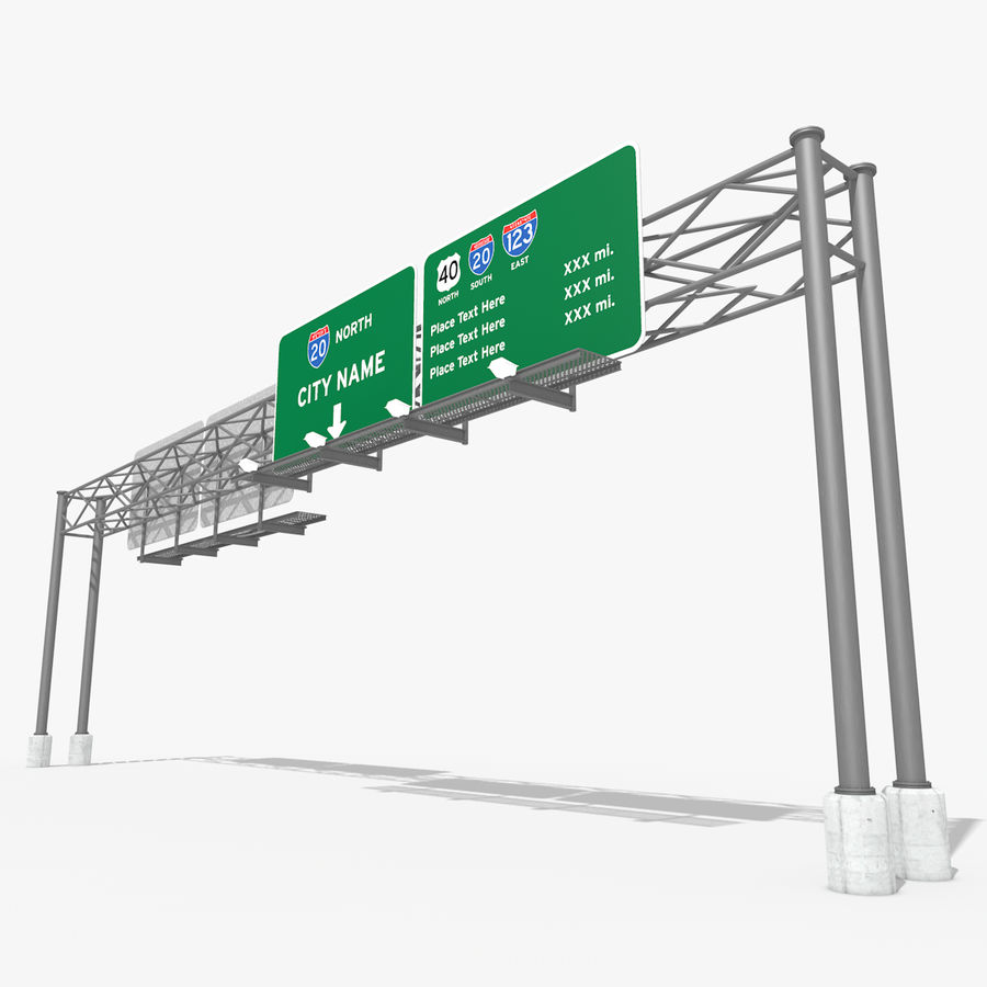 Freeway Sign royalty-free 3d model - Preview no. 1