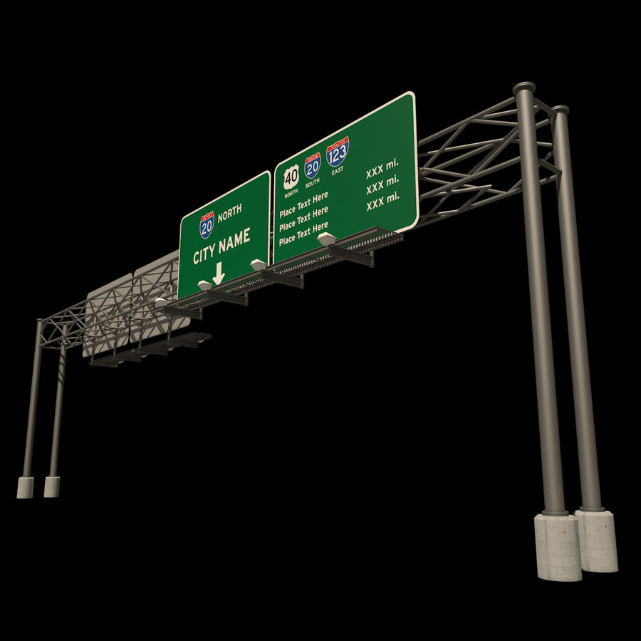 Freeway Sign royalty-free 3d model - Preview no. 2