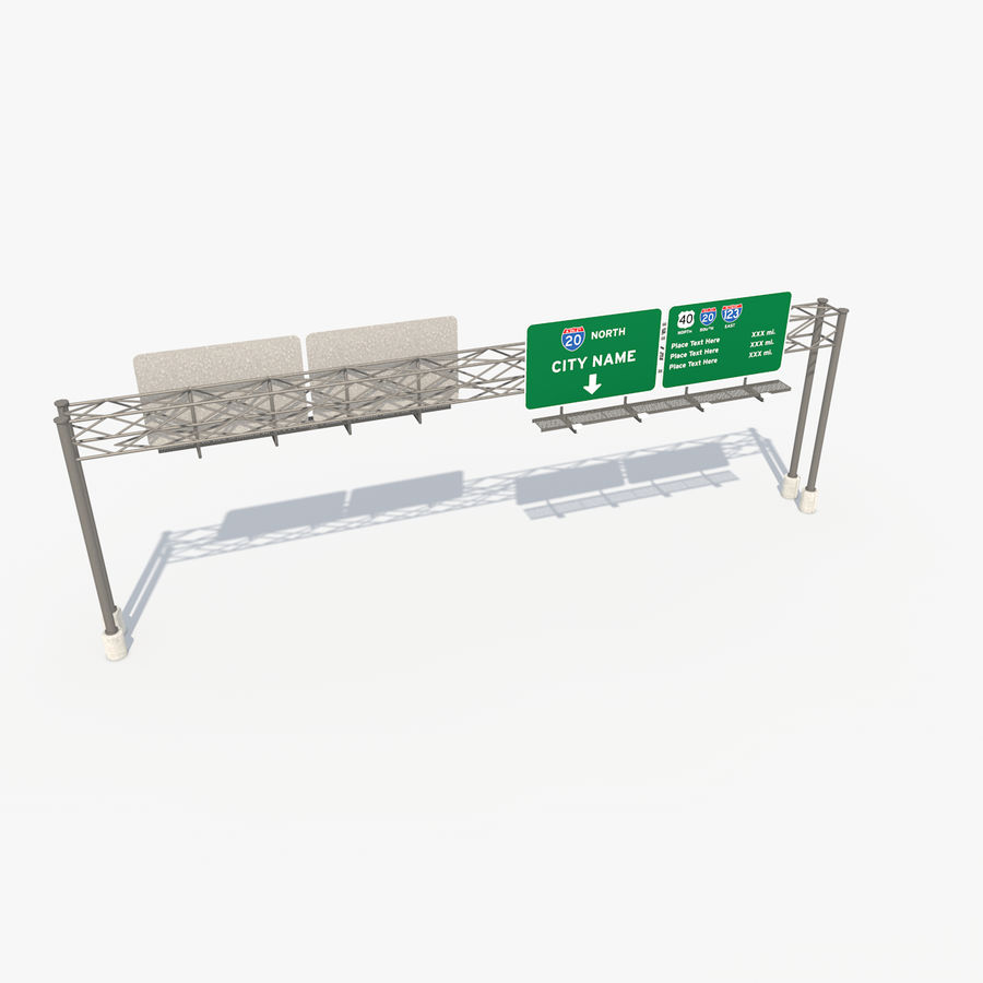 Freeway Sign royalty-free 3d model - Preview no. 5