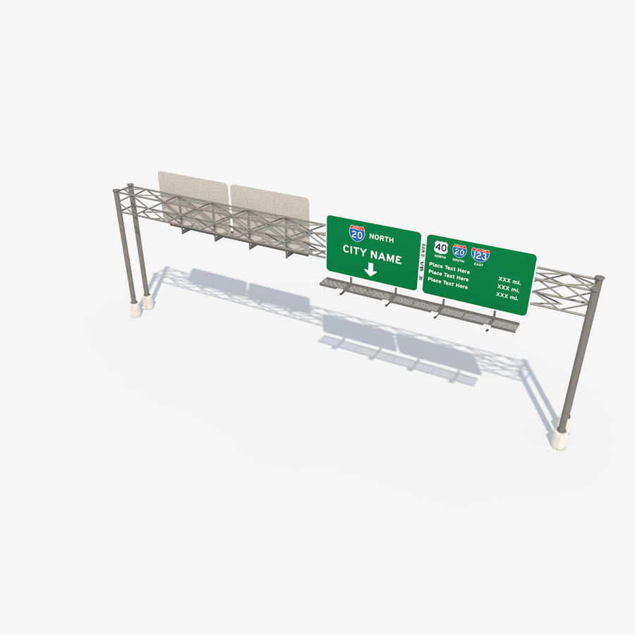 Freeway Sign royalty-free 3d model - Preview no. 13