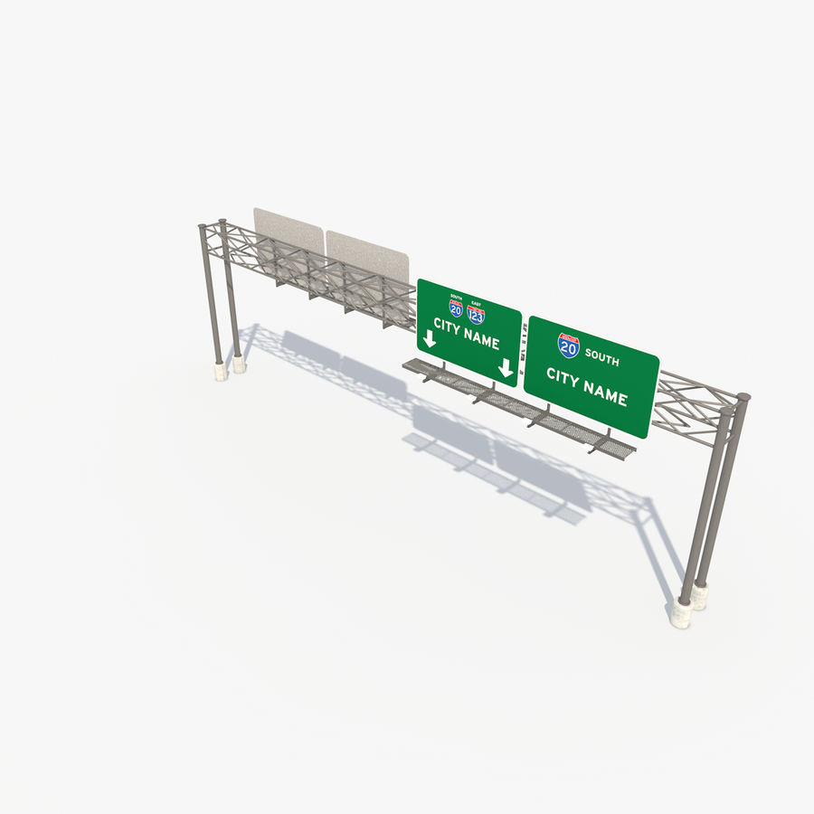Freeway Sign royalty-free 3d model - Preview no. 8