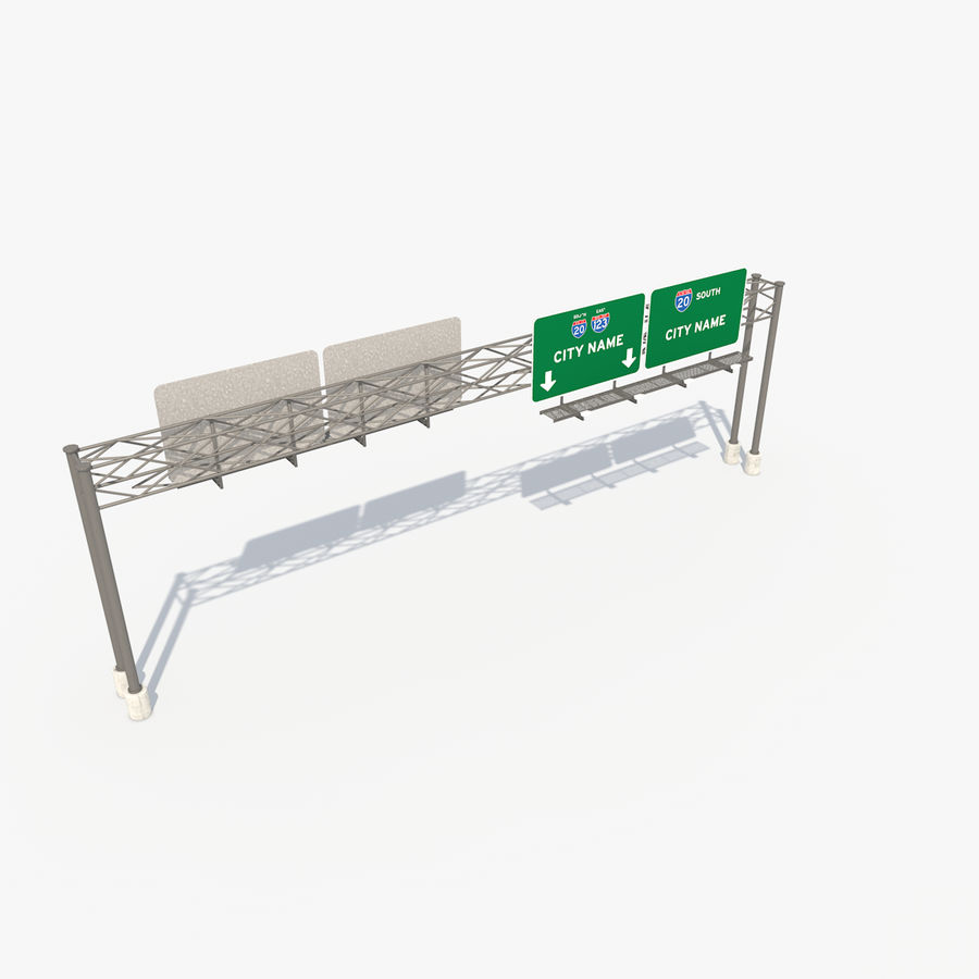Freeway Sign royalty-free 3d model - Preview no. 10