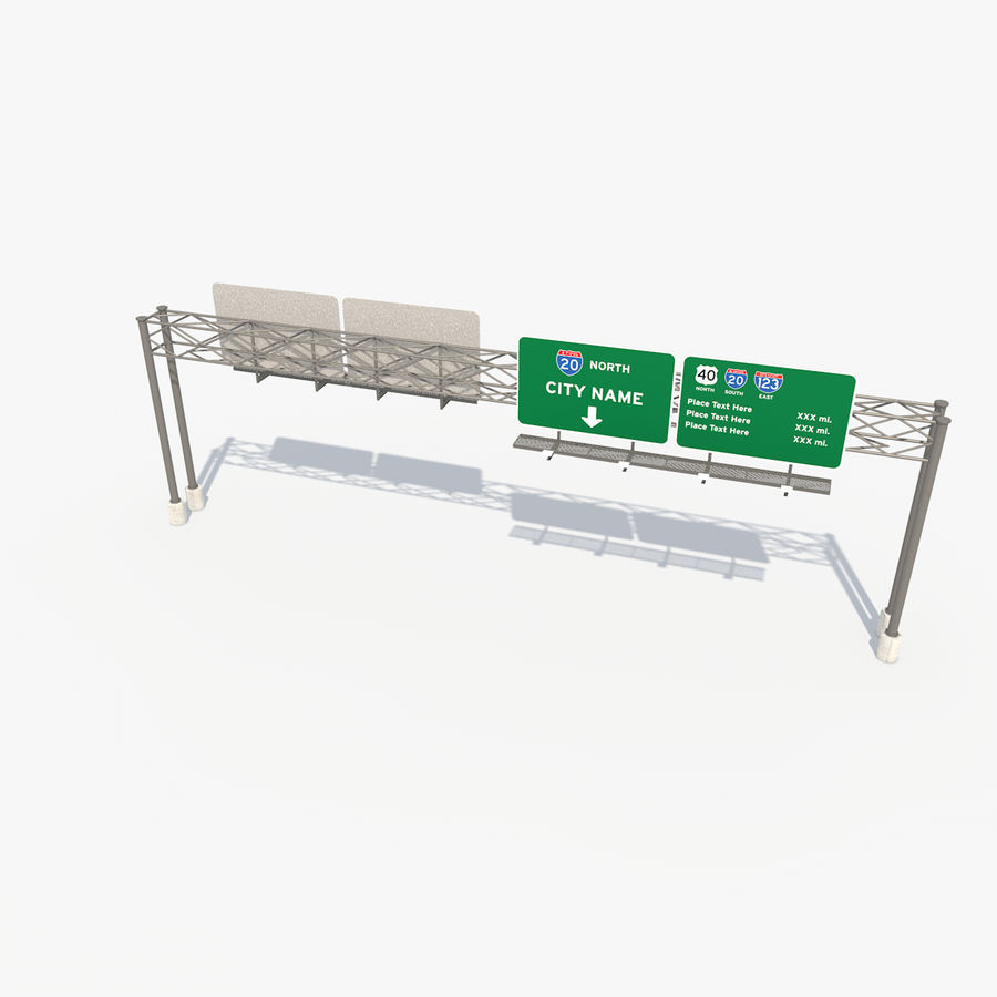Freeway Sign royalty-free 3d model - Preview no. 4