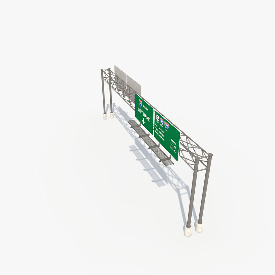 Freeway Sign royalty-free 3d model - Preview no. 12