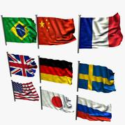 Flags, realisticly deformed 3d model