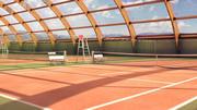 Houten structuur - tennishal 3d model