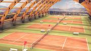 목조 구조-테니스 홀 3d model