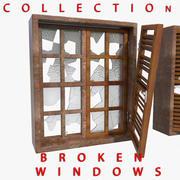 Zerbrochene Fenstersplitter In Holzrahmen Trümmer Junk 3d model