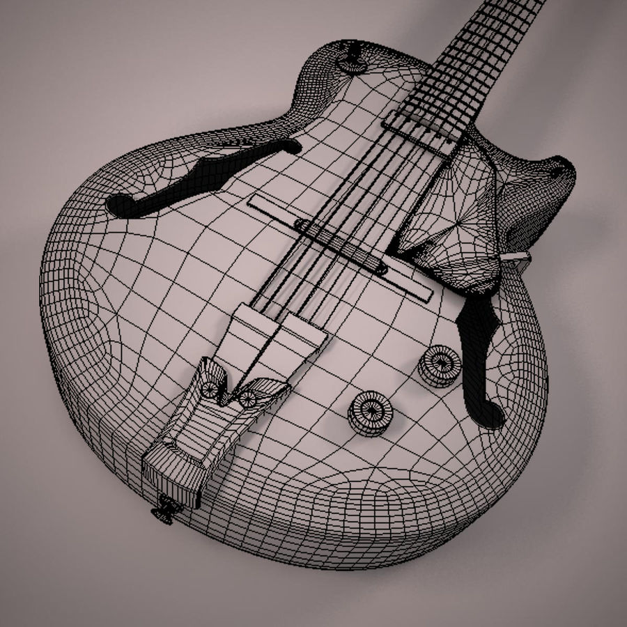 Antique Electric Guitar royalty-free 3d model - Preview no. 20