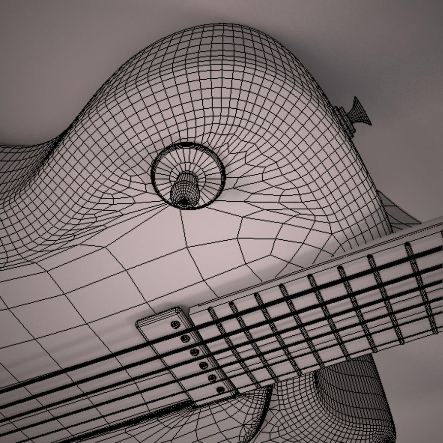 Antique Electric Guitar royalty-free 3d model - Preview no. 22