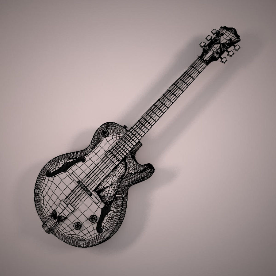 Antique Electric Guitar royalty-free 3d model - Preview no. 13