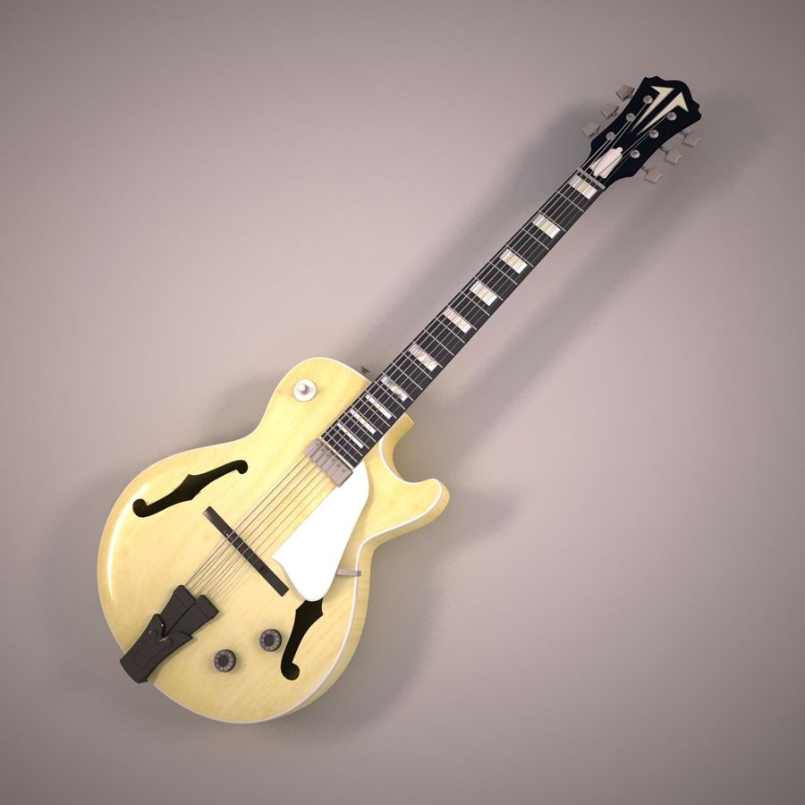 Antique Electric Guitar royalty-free 3d model - Preview no. 2