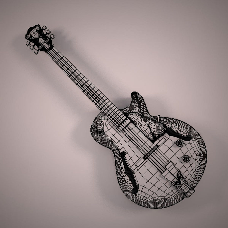 Antique Electric Guitar royalty-free 3d model - Preview no. 16