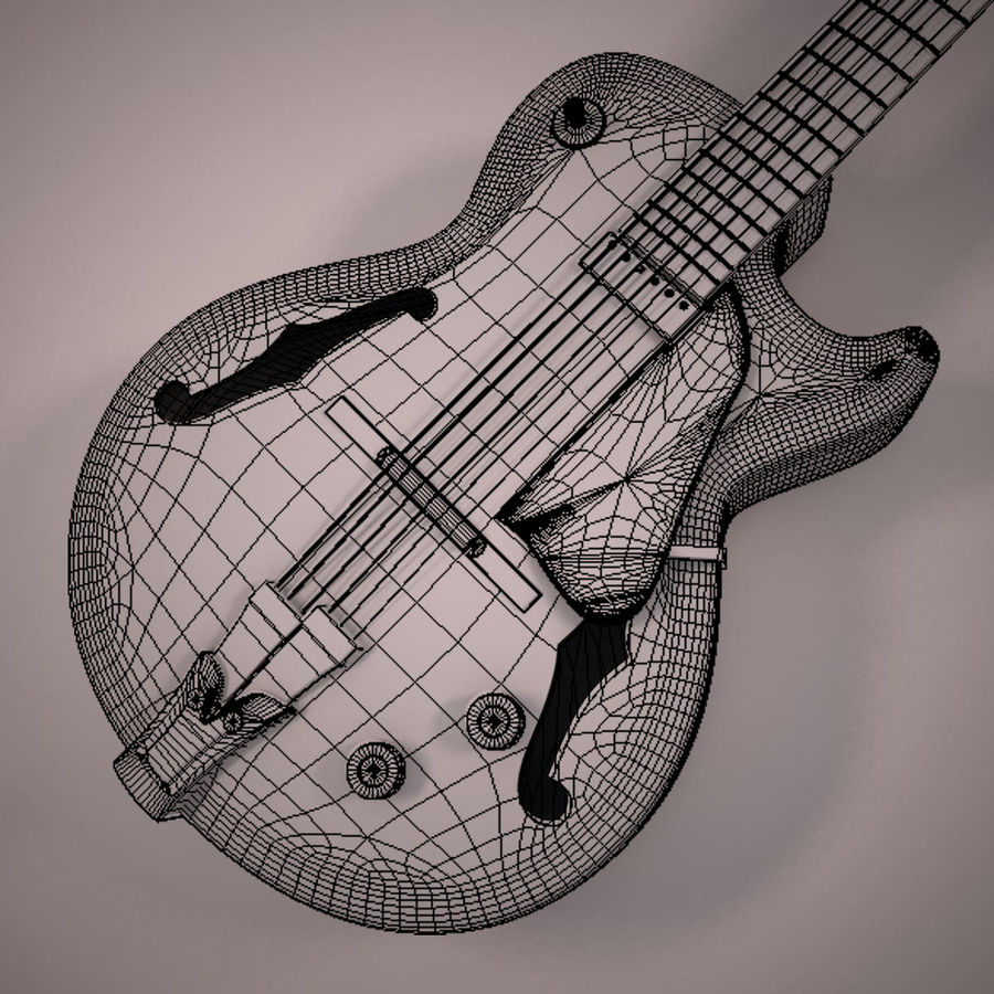 Antique Electric Guitar royalty-free 3d model - Preview no. 17