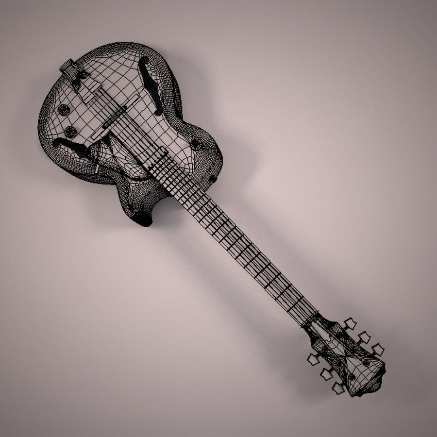 Antique Electric Guitar royalty-free 3d model - Preview no. 14