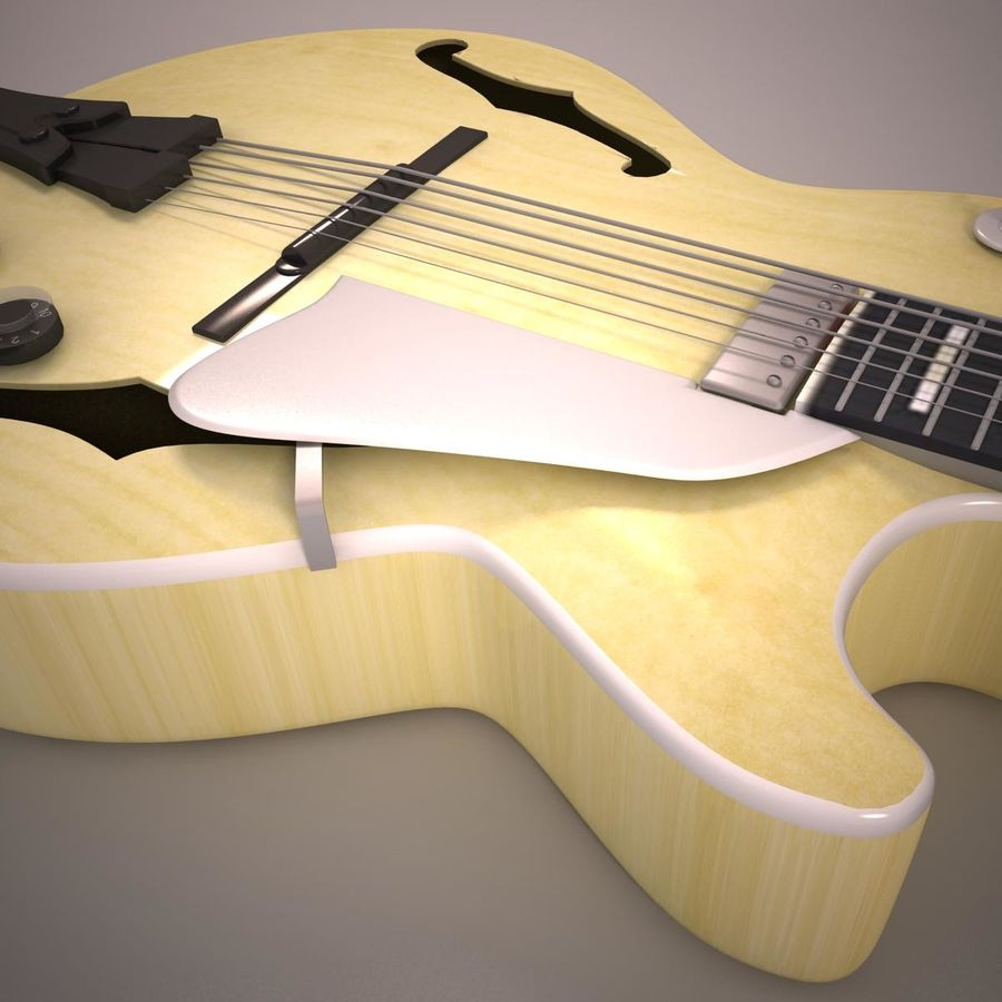 Antique Electric Guitar royalty-free 3d model - Preview no. 12