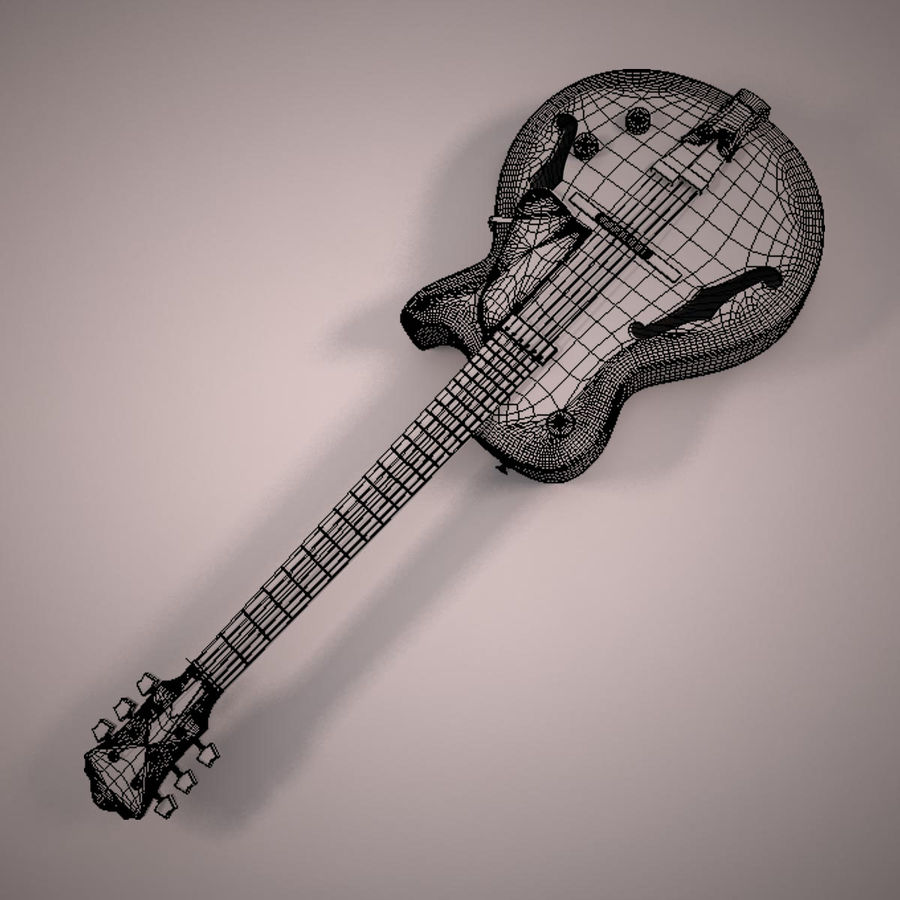 Antique Electric Guitar royalty-free 3d model - Preview no. 15