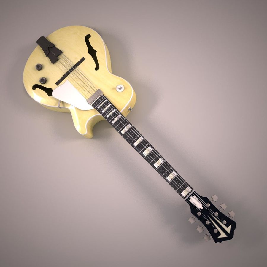 Antique Electric Guitar royalty-free 3d model - Preview no. 3