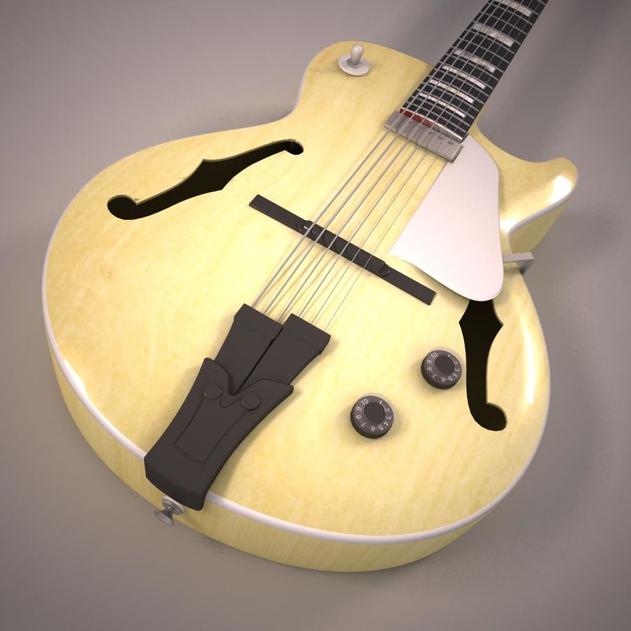 Antique Electric Guitar royalty-free 3d model - Preview no. 9